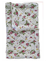 Шерстяное одеяло полуторное, бязь хлопок 100%, Роза (155х215 см.)