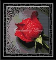 """Набор для вышивки крестом с печатью на ткани   """"Роса на красной розе """" канва 11ст"""