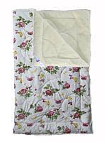 Меховое одеяло двуспальное, бязь хлопок 100%, Роза (175х215 см.)