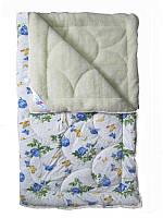 Меховое одеяло полуторное, бязь хлопок 100%, Голубые розы (155х215 см.)