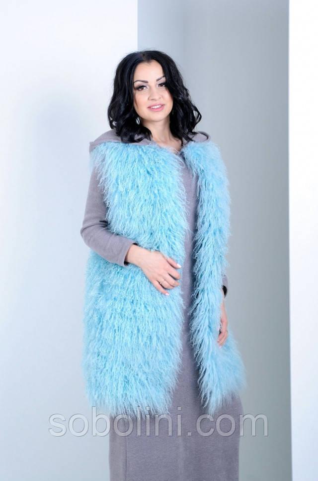 жилет из ламы голубой