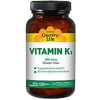 Витамин K1, Country Life, 100 мкг, 100 таблеток