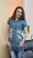 Женская молодежная джинсовая рубашка клеточка