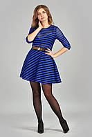 Модное женское платье в полупрозрачную  полоску синего цвета