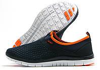 Кроссовки женские Sport без шнурков темно-синие с оранжевым
