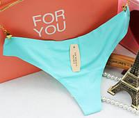 Красивые Стринги бесшовные Victoria's Secret голубой цвет