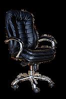[ Кресло Barselona chrome D-5 + Подарок ] Офисное кресло с хромированными подлокотниками эко кожа черный