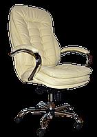 [ Кресло Barselona chrome H-17 + Подарок ] Офисное кресло с хромированными подлокотниками эко кожа бежевый