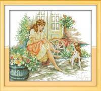 """Набор для вышивки крестом с печатью на ткани   """"Девушка с собачкой """" канва 11ст"""