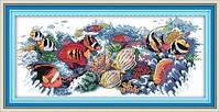 """Набор для вышивки крестом с печатью на ткани   """"Тропические рыбки (2)"""" канва 11ст"""