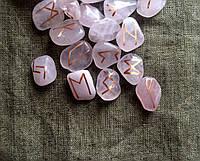 Руны из камня, 25 символов. Розовый кварц (S)