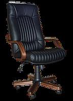 [ Кресло Favorit Extra D-5 1.031 + Подарок ] Офисное кресло с деревянными подлокотниками эко кожа черный