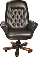 [ Кресло Herkules EXTRA LE-A/K 1.031 + Подарок ] Офисное кресло с мягкими подлокотниками нат. кожа Люкс черный