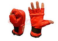 Шингарты кожаные, манжет на резинке. XL красный.