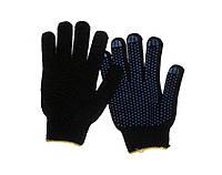 Перчатки Сталь (х/б с резиновым вкраплением, черные)