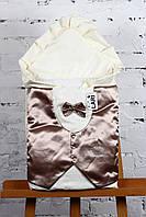 """Конверт-одеяло """"Джентельмен"""" с коричневой атласной жилеткой"""