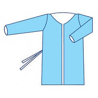 Халат медицинский для посетителей стерильный одноразовый на завязках