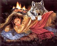 Алмазная вышивка Девушка и волк греются KLN 37 х 30 см (арт. FR148)