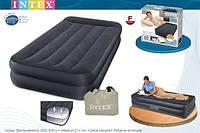 Надувная флокированна кровать матрас с подголовником Intex 66721