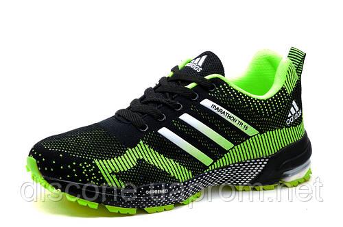 Кроссовки мужские Adidas Marathon TR 15, текстиль, черно-салатовые