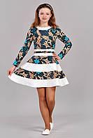 Весеннее платье разклешенного силуэта голубой цветок