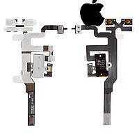 Шлейф для iPhone 4S, кнопок звука, коннектора наушников, с компонентами, белый, оригинал