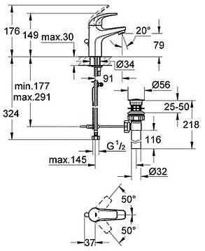 BauCurve Смеситель для умывальника с донным клапаном, фото 2