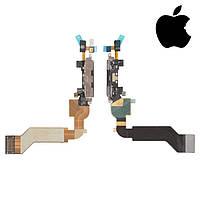 Шлейф для Apple iPhone 4S, коннектора зарядки, микрофона, с компонентами, черный, оригинал