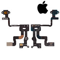 Шлейф для Apple iPhone 4S, кнопки включения, c датчиком приближения, с компонентами, оригинал