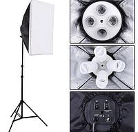 Студийный свет, набор (софтбокс 50x70, держатель для ламп + стойка)