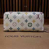 Кошелек Louis Vuitton белый, монограмм на молнии
