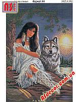 """Набор для вышивания бисером """"Девушка с волком"""" А4 (полная зашивка) -"""