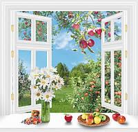Фотообои с имитацией окна для кухни За окном Лето размер 140 х 145 см