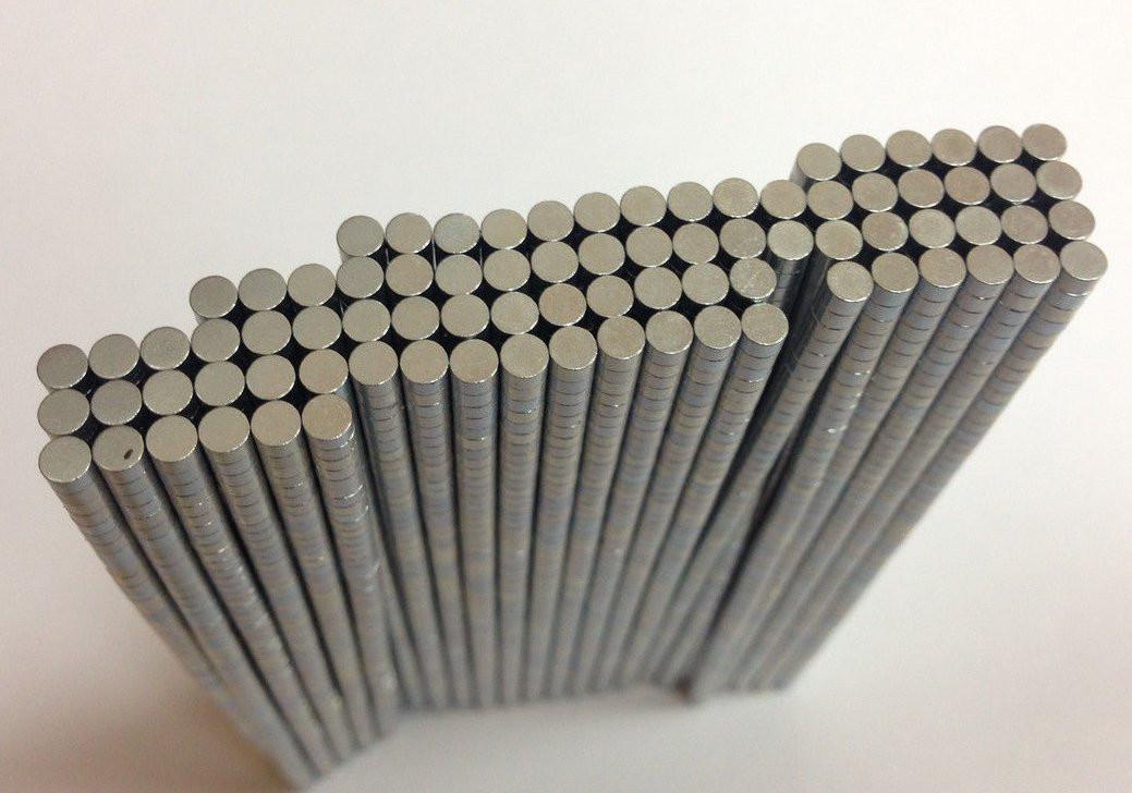Магнит круглый неодимовый заготовка 8х1 мм Сила 0,7 кг