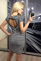 """Платье """"Левона"""", ч/б полоса"""
