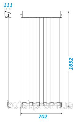 Габаритные размеры вакуумного гелиоколлектора Vaillant VTK 570/2