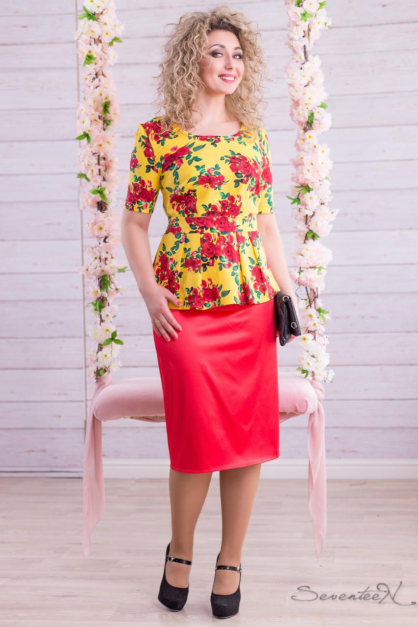 b7b9d534546 Летний женский костюм льяная блуза с баской цветочный принт и атласная юбка  миди большие размеры 46-52