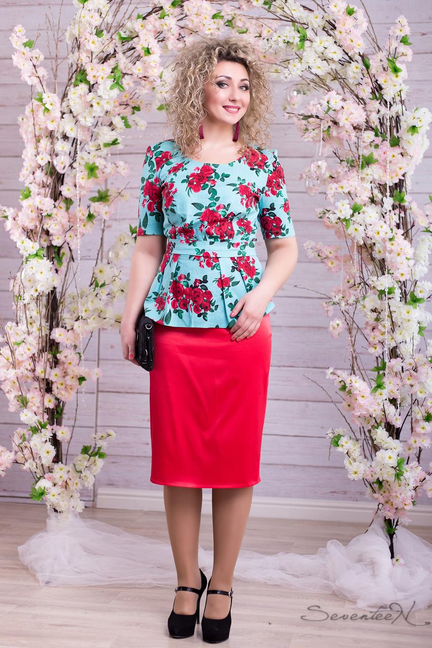 1043ccd4604 Летний женский костюм льяная блуза с баской цветочный принт и атласная юбка  миди большие размеры 46