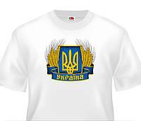 Футболка Україна з колосками, біла