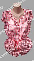 Модная женская блузка в клетку с пояском большого размера