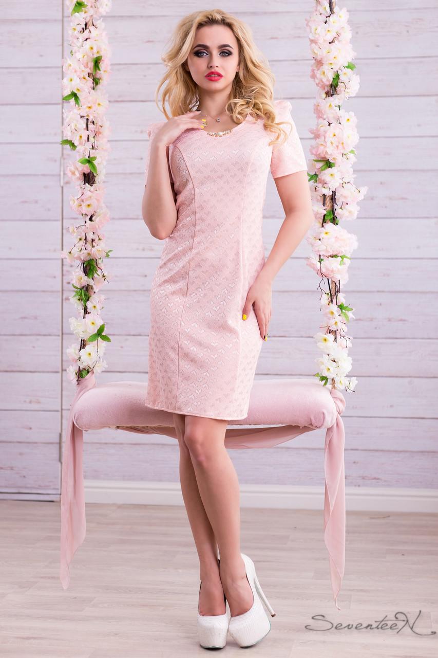 59de20e49c8e85f Нежное классическое летнее платье-футляр из принтованого жаккарда рукав  фонарик 44-50 - 💎