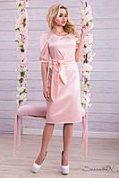 Атласное нарядное летнее платье с поясом длина ниже колен 44-52