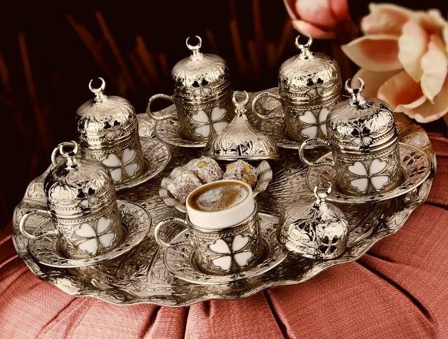 Набор чашек для кофе на 6 персон Sena Серебристый цветок