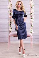 Атласне ошатне літнє плаття з поясом довжина нижче колін 44-52, фото 1