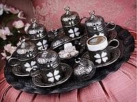 Набор чашек для кофе Бронзовый цветок на 6 персон