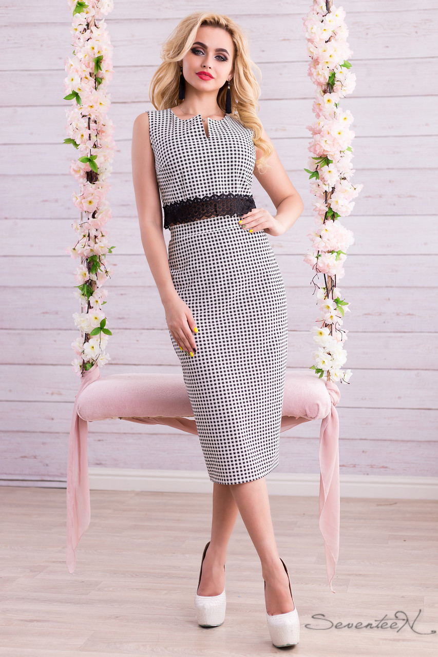 Модный женский костюм в клетку юбка миди с завышенной талией и топ с кружевом 42-48 размера, фото 1
