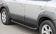 Боковые пороги Allmond Black (площадка, ступенька) Renault Duster Рено Дастер