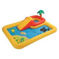 """Intex Игровой центр  """"Аквапарк"""" горка, фонтанчик, подстилка, сливной клапан, игрушки."""
