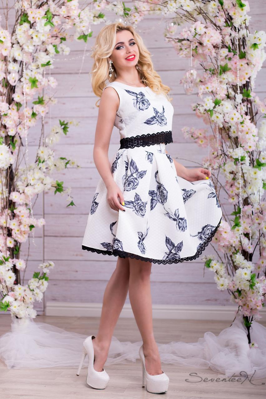 Красивый женский костюм цветочный принт юбка солнце и топ с кружевом 42-48 размера, фото 1