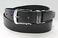 Ремень кожаный класический 40 мм чорный гладкий  пряжка и тренчик металический комплект